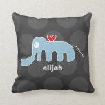 Cartoon Cute Elephant Love Whimsical Kids Cushion Throw Pillow