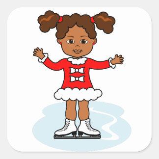 Cartoon Cute Figure Skater Girl Sticker
