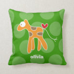 Cartoon Cute Giraffe Love Whimsical Kids Cushion Pillows