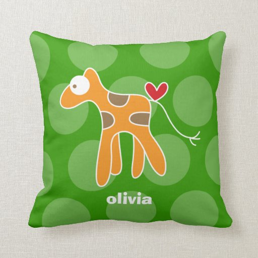 Cartoon Cute Giraffe Love Whimsical Kids Cushion Throw Pillow