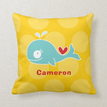 Beach Themed Cartoon Cute Girl Whale Love Whimsical Kids Pillow