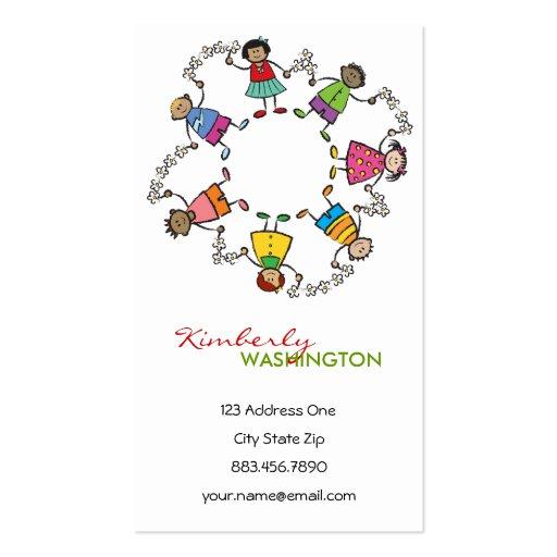 Cartoon Cute Happy Kids Friends Around The World Business Card Template