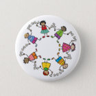 Cartoon Cute Happy Kids Friends Around The World Button