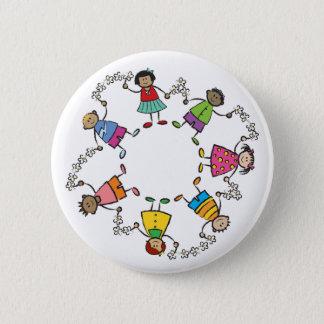 Cartoon Cute Happy Kids Friends Around The World Button