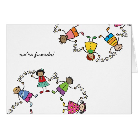 Cartoon Cute Happy Kids Friends Around The World Card