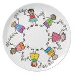 Cartoon Cute Happy Kids Friends Around The World Dinner Plates