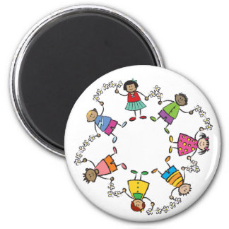 Cartoon Cute Happy Kids Friends Around The World Magnet