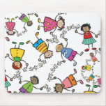 Cartoon Cute Happy Kids Friends Around The World Mouse Pad
