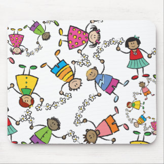 Cartoon Cute Happy Kids Friends Around The World Mousepads
