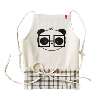 Cartoon Cute Panda Face With Framed Glasses Zazzle HEART Apron