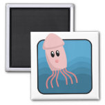 Cartoon Cuttlefish 2 Inch Square Magnet