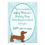 Cartoon Dachshund Childrens Birthday Invitation