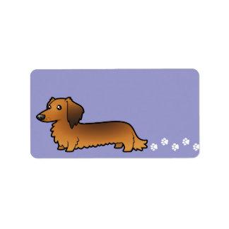 Cartoon Dachshund (longhair) Address Label