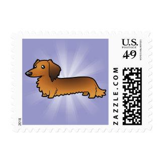 Cartoon Dachshund longhair Postage Stamp
