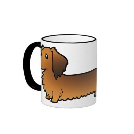 Cartoon Dachshund (longhair) Ringer Coffee Mug