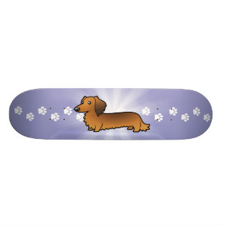 Cartoon Dachshund (longhair) Skateboard Deck