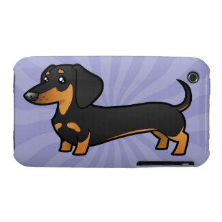 Cartoon Dachshund (smooth coat) iPhone 3 Cases