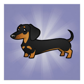 Cartoon Dachshund (smooth coat) Poster