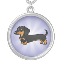 Cartoon Dachshund (smooth coat) Silver Plated Necklace