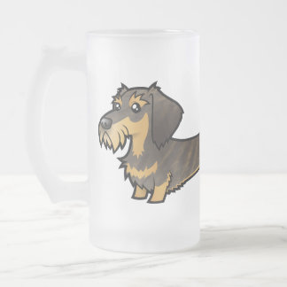 Cartoon Dachshund (wirehair) 16 Oz Frosted Glass Beer Mug