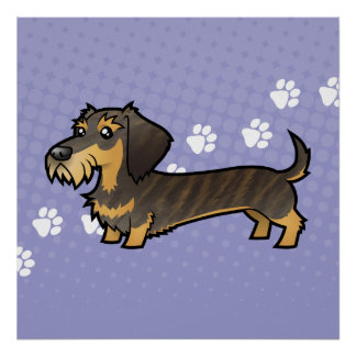 Cartoon Dachshund (wirehair) Poster