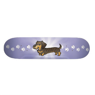 Cartoon Dachshund (wirehair) Skateboard Deck