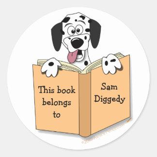 Cartoon Dalmatian Dog Bookplate Stickers Template