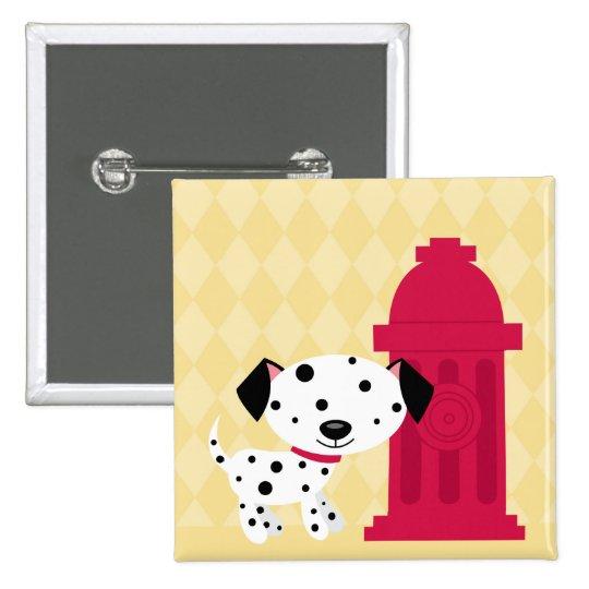 Cartoon dalmation dog & fire hydrant button