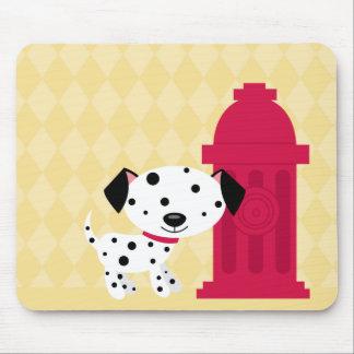 Cartoon dalmation dog & fire hydrant mousepad