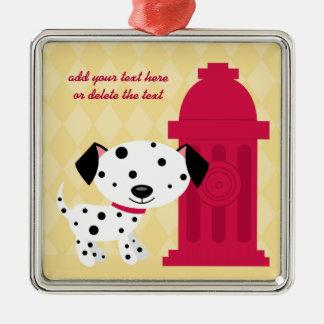 Cartoon dalmation dog & fire hydrant ornament