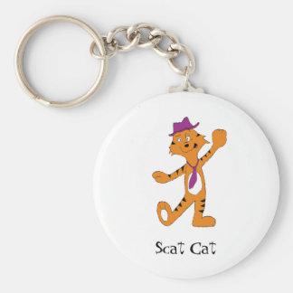 Cartoon Dancing Jazz Tiger Basic Round Button Keychain