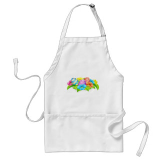 Cartoon Decorated Easter Eggs and Flowers Adult Apron