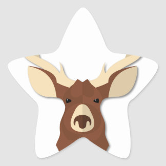 Cartoon Deer Stag Head Star Sticker