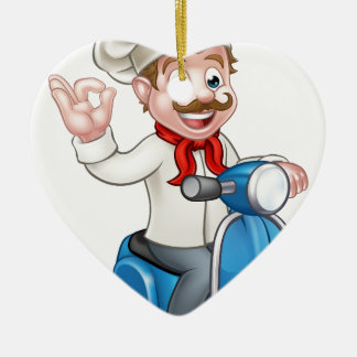 Cartoon Delivery Moped Scooter Chef Ceramic Ornament