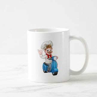 Cartoon Delivery Moped Scooter Chef Coffee Mug