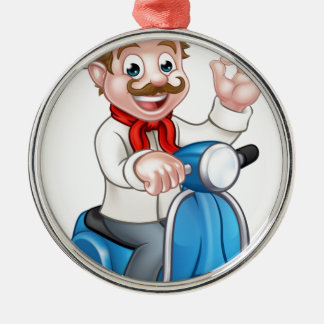 Cartoon Delivery Moped Scooter Chef Metal Ornament