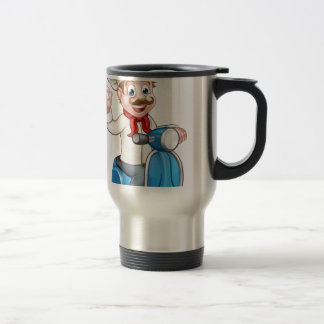 Cartoon Delivery Moped Scooter Chef Travel Mug