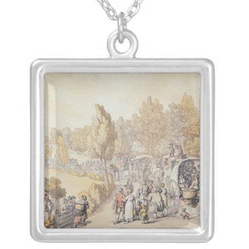 Cartoon depicting country folk leaving for custom jewelry