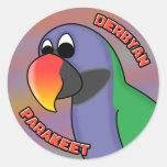 Cartoon Derbyan Parakeet Round Stickers