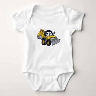 Cartoon Digger Bulldozer Character Baby Bodysuit