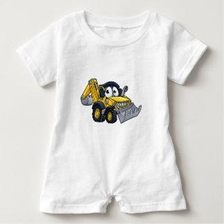Cartoon Digger Bulldozer Character Baby Romper