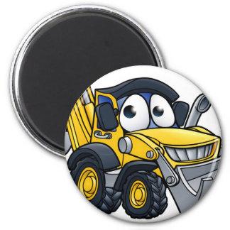 Cartoon Digger Bulldozer Character Magnet