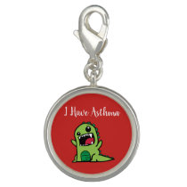 Cartoon Dino Asthma Medical ID Charm