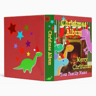 Cartoon Dinos by the Fireplace Christmas Album 3 Ring Binder