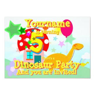 Cartoon Dinosaur 5th Birthday Party Invitations
