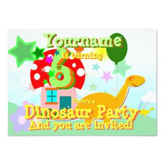 Cartoon Dinosaur 6th Birthday Party Invitations