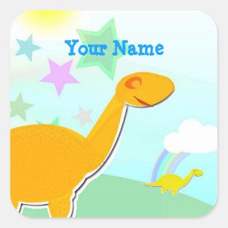 Cartoon Dinosaur & Color Stars Name Sticker