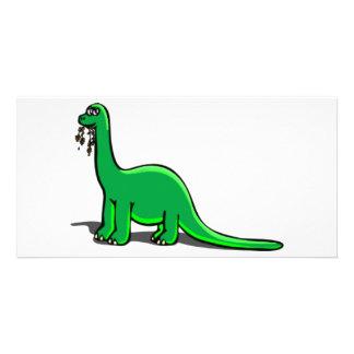Cartoon Dinosaur Eating Photo Card