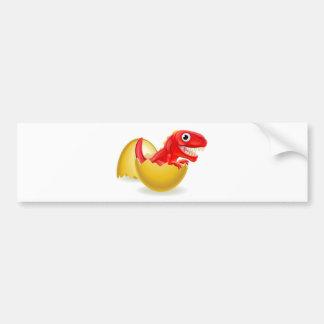 Cartoon Dinosaur Hatching from Egg Bumper Sticker