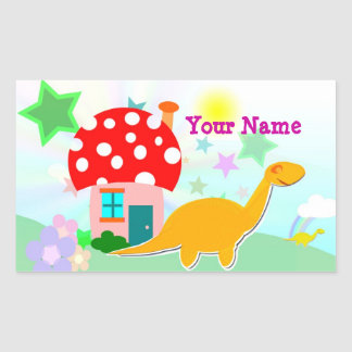 Cartoon Dinosaur & Mushroom House Name Sticker